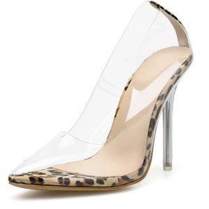 Shoes - 💕LAST PAIR!! Leopard Transparent Stiletto